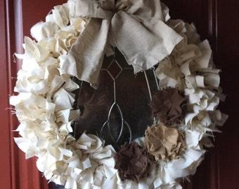 Shabby Chic Muslin Rag Wreath
