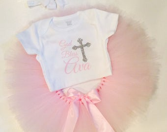 FREE shipping || GET ALL three || God Bless / Personalized / Baptism Outfit / After Party Outfit / Baptism Body suit / Tutu / headband