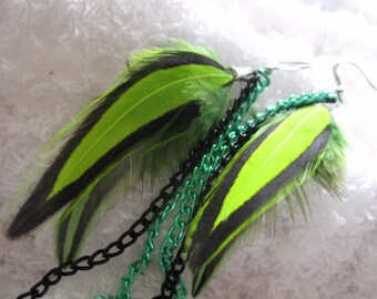 Green and Black Feather Earrings with Chains