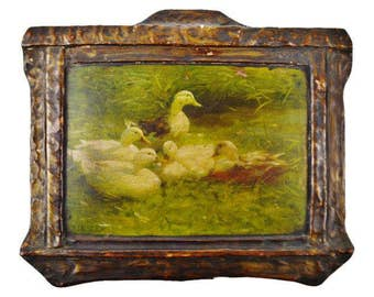 Ducks on Pond Antique Chromolithograph on Board A. Koester