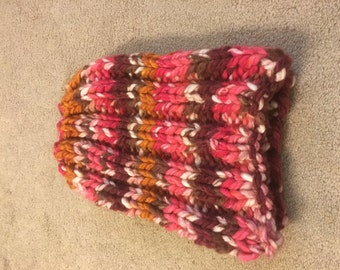 Multi-colored pink knit hat