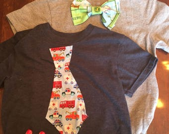 Boys bow tie and tie t shirts