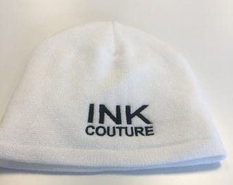 White Ink Couture Beanie / Winter Hat