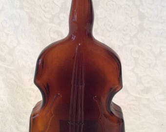 Violin/Cello/Fiddle Decanter, Amber Glass
