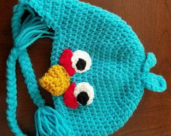 Angry Blue Bird crochet hat