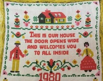 Linen 1980 calendar tea towel Made in Poland Vintage tea towel Kitsch design 1980 birthday Vintage kitchen Collectibles