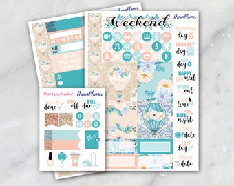 Hot Air Balloons Personal Planner Sticker Kit 2 Sheets - Dream Planner