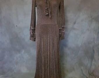 Black and silver 1960s Lurex maxi evening dress
