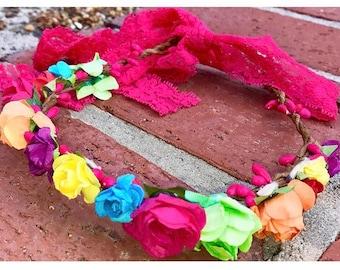 Rainbow Flower Crown, baby flower crown, kid flower crown, adult flower crown