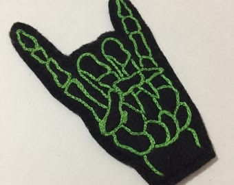 Hand-Embroidered Rock-On Hand