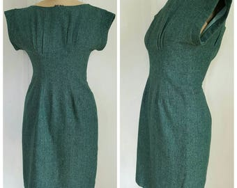 Reserved********Vintage 50s/60s green tweed secretary dress, 1950s day dress, MADMEN office dress, size small