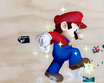 Super Mario Painting On Wooden Panel