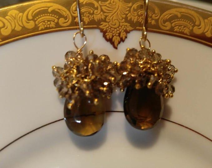 Beer Quartz earrings, drop earrings, AAA+ quality in 14kt Gold, solid gold earrings, cluster earrings, smokey topaz and beer quartz