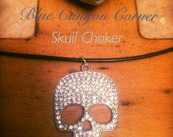 Women's Skull and Diamond Leather Choker