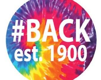 """Backstroke est. 1900 3"""" Round Decal - Tie-dye"""