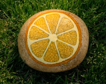 River Rock Garden Marker- Lemon
