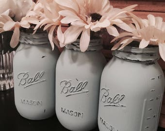 Distressed Mason Jars. Set of three.