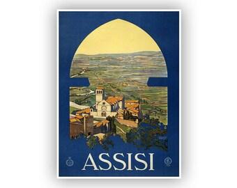 ASSISI Italian, Travel Poster, Vintage Italy Tourism Print, Retro Italia Home Decor, Mid Century Art, Fine Art Reproduction Print