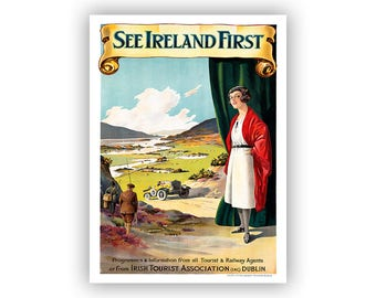 Ireland Travel Poster, Vintage Style Fine Art Print, Irish Tourism Artwork, Retro Home Decor, Multiple Sizes Available
