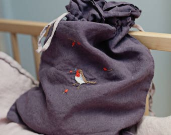 Linen Pouch, Purple Linen Bag, Hand Stitched Embroidery, Made to Order