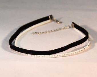 Choker Necklace Double Black and White with Studs