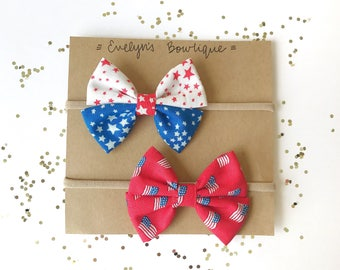 Flared Patriotic Bows - girl bows, hair bows, fourth of july bow, nylon bows, headband, 4th July, 4th July Bow, Independence