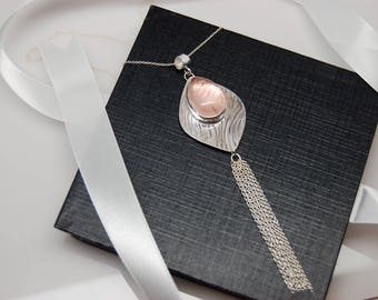 Rose quartz and Sterling Silver Tassel Pendant Necklace
