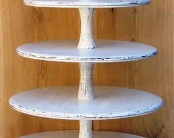 5 Tier Cupcake Stand 14-12-10-8-6 inches, Wedding Cupcake Stand,Cake Stand, Wood Cupcake Stand, Shabby White Chic Wedding, Cupcake Tower