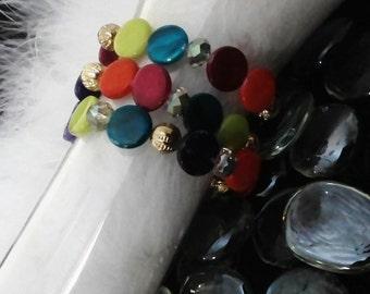 Multi color bracelet set, beaded bracelet