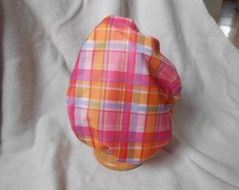 Shower cap - pink and orange plaid