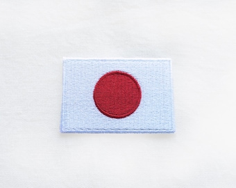 1x JAPAN flag patch - Japanese Rising Sun Nippon Nisshoki Iron On Embroidered Applique logo red white