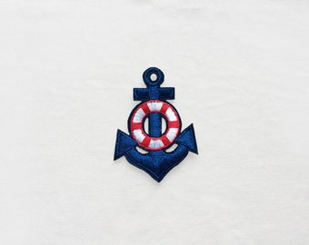 1x blue red white ANCHOR + life buoy Patch Iron On Embroidered Applique navy tattoo retro pin up Rockabilly