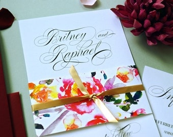 Printable Wedding Invitation Set, Floral Watercolor Invites, Belly Band
