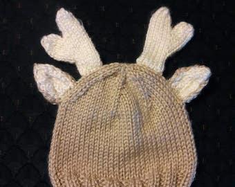 Dear Deer Knit Baby Hat   Baby Photo Prop