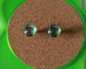 Handmade boba fett stud earrings