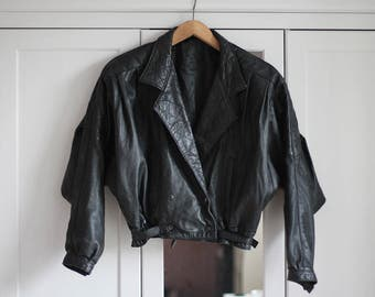 Grunge  Leather Jacket Black Retro Vintage Short 90s 80s Loose fit Rock n Roll Look 100% Genuine Dark / Extra Large size