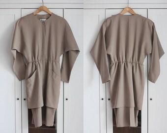 Beige Khaki Coat Vintage Dress Blazer Elegant Classic Smart 1980s Simple Minimalist Light Brown Top High Fashion Women Clothing