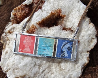 Vintage Stamp Glass Pendant Necklace