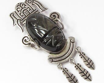 Unique 925 Sterling Silver Vintage Antique Black Onyx Aztec God Brooch Pin - B065 (!!!OFFERS ACCEPTED!!!)