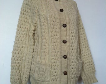 Vintage Womens Slieve League Ireland Pure Wool Hand Knitted Aran Buttoned Cardigan Alpaca Fishermans Sweater / Beige / Chunky Knit / Size M