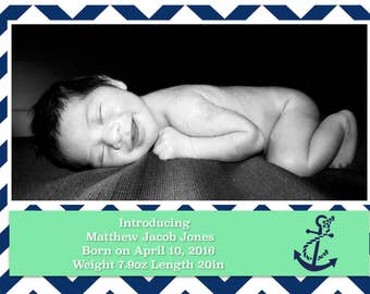 Nautical Baby Boy Annoucement