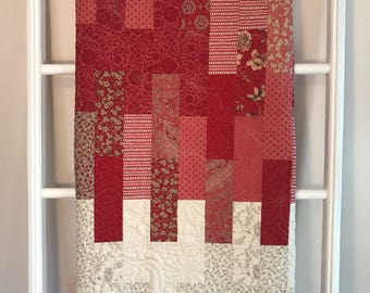 Handmade quilt, Red and Taupe Minky Quilt, lap quilt, minky quilt, red quilt, taupe quilt, quilt for sale