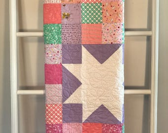 Handmade Girl Quilt, Quilts for Sale, Pink and Purple Star Quilt, Girl quilt, baby quilt, pink quilt, purple, baby gift, Handmade quilt