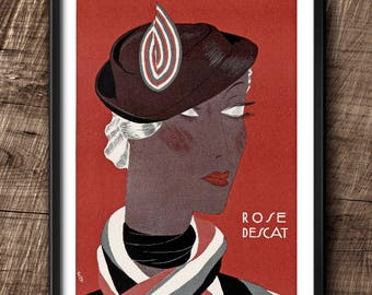 Rose Descat Ad · 1930s · Instant Download · Art Deco · Hats · Paris · Vintage · Fashion · Printable #131
