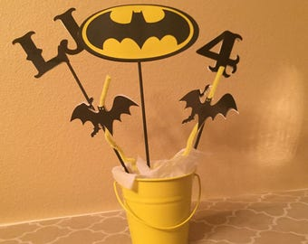 Personalized Batman Birthday Centerpiece