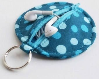 Earbuds Zipper Case Keychain