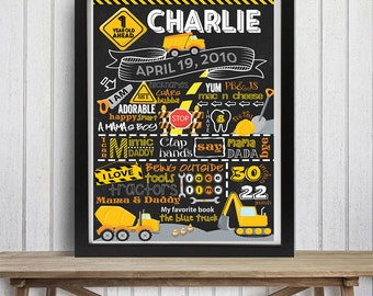 SALE Construction Birthday Chalkboard, Dump Truck Birthday, Tractors, Construction Party, Boy First Birthday,Any Age