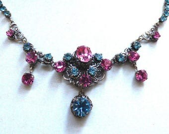 Vintage Art Deco 1920s Czech Rhinestone Filigree Necklace