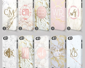 Personalised Golden Marble Printed Glitter Initials Custom Phone Case For Iphone & Samsung 3D Full Wrap Hard Cover Gift