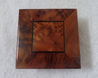 Moroccan Jewelry Box Square Shape Brown Handmade With Pure Thuya Wood